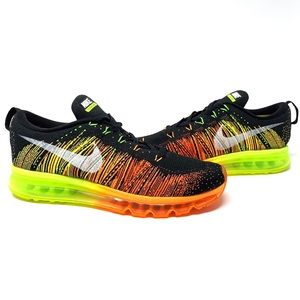 Nike Flyknit Max 2014 black atomic orange size 10